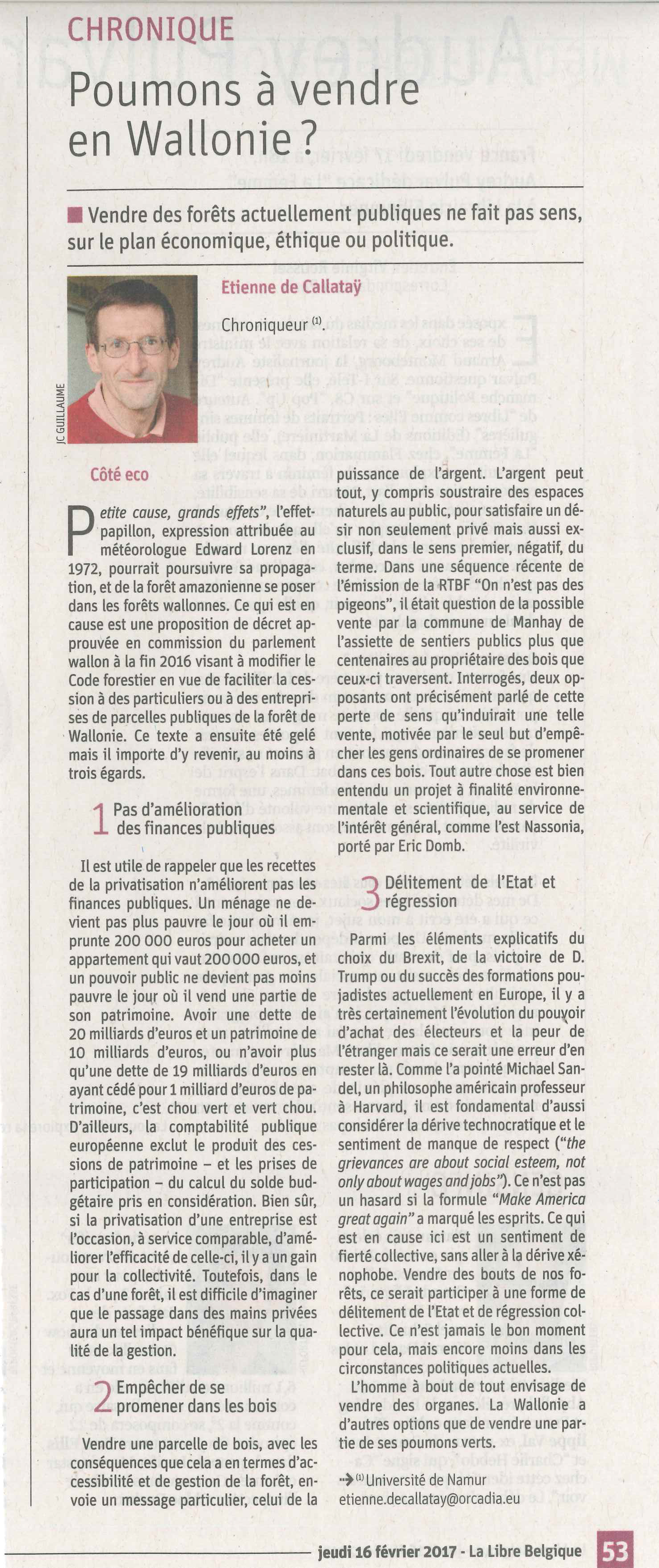 Poumons a vendre en Wallonie-E de Callatay - La Libre - 2017-02-16