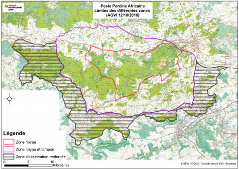 Carto zones au sein des 63000 ha de zone peste porcine africaine