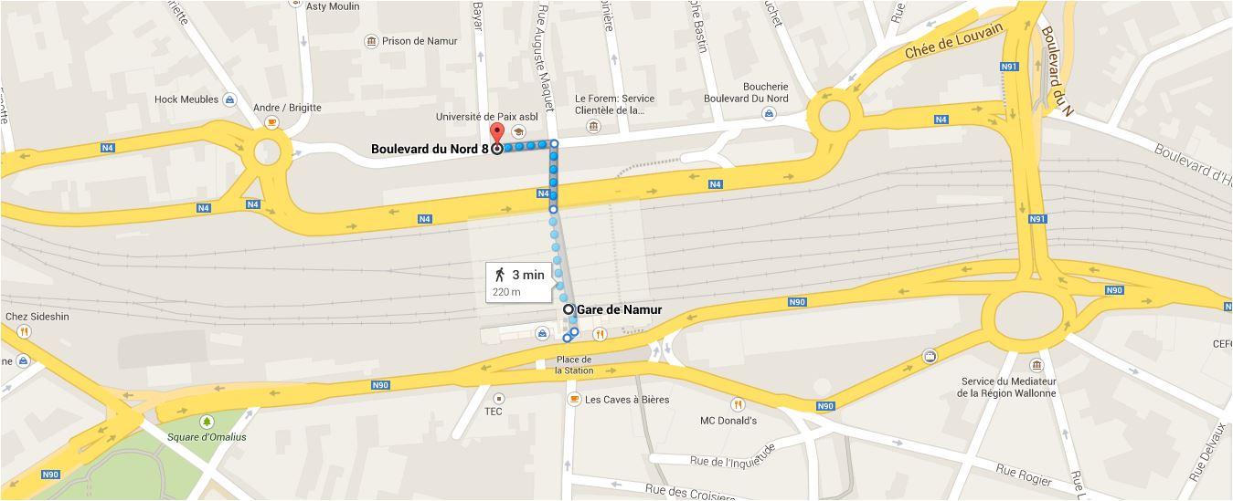 Plan d'accès Boulevard du Nord 8, Namur.